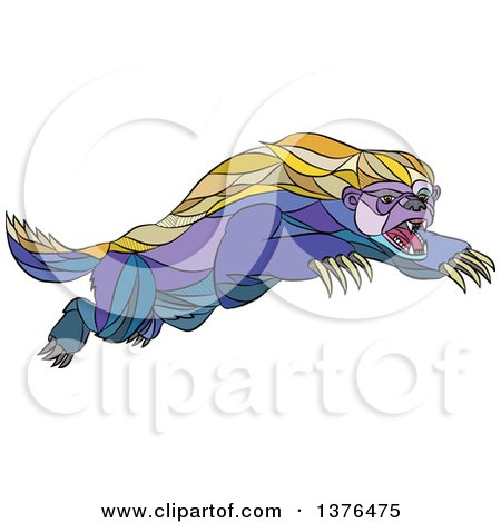Clipart of a Colorful Sketched Mosaic Attacking Honey Badger - Royalty Free Vector Illustration by patrimonio