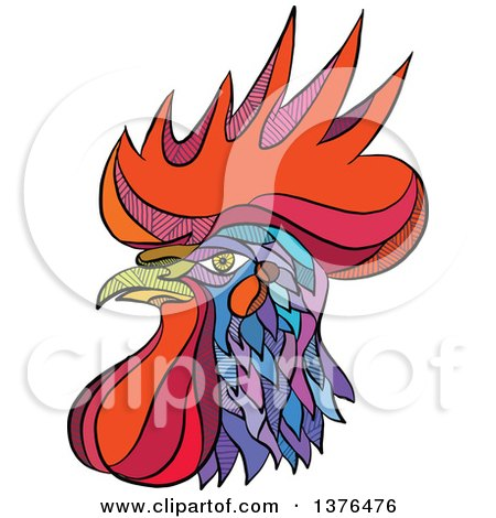 Clipart of a Colorful Sketched Mosaic Rooster Head - Royalty Free Vector Illustration by patrimonio
