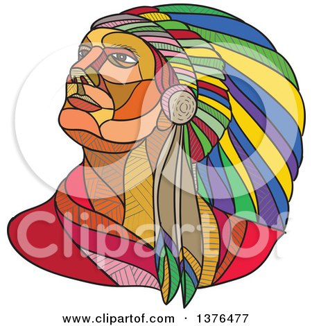 Clipart of a Colorful Sketched Mosaic Native American Indian Chief Wearing a Feather Headdress and Looking off to the Side - Royalty Free Vector Illustration by patrimonio