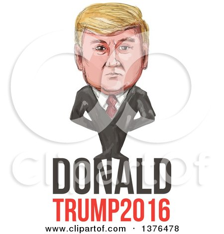 Clipart of a Caricature of Donald Trump over Text - Royalty Free Vector Illustration by patrimonio