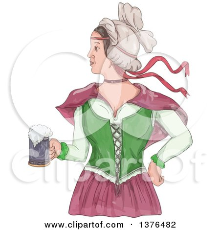 Clipart of a Watercolor Styled Retro Victorian Beer Maiden Holding a Mug - Royalty Free Vector Illustration by patrimonio