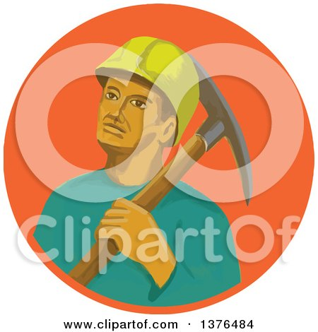 Clipart of a Retro Watercolor Styled Coal Miner with a Pick Axe over His Shoulder, in an Orange Circle - Royalty Free Vector Illustration by patrimonio