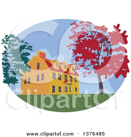 Clipart of a Retro Wpa Styled Colonial House and Autumn Trees in an Oval - Royalty Free Vector Illustration by patrimonio