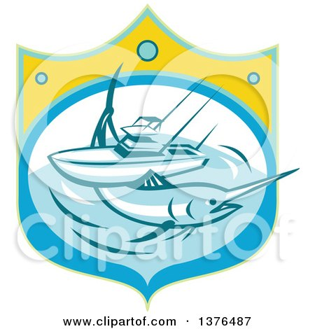 Clipart of a Retro Blue Marlin Fish and Charter Boat at Sea in a Shield - Royalty Free Vector Illustration by patrimonio