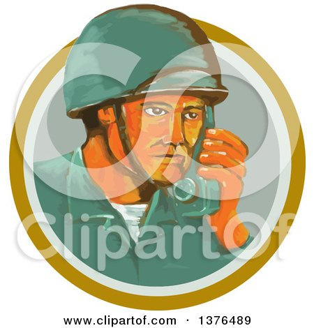Clipart of a Retro Watercolor Styled WWII American Soldier Talking on a Field Radio in an Orange Circle - Royalty Free Vector Illustration by patrimonio
