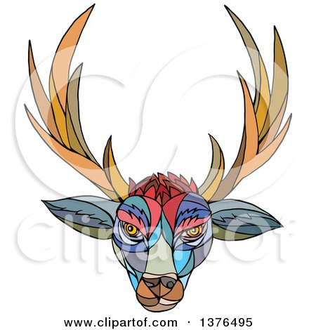 Clipart of a Colorful Mosaic Stag Deer Head with Antlers - Royalty Free Vector Illustration by patrimonio