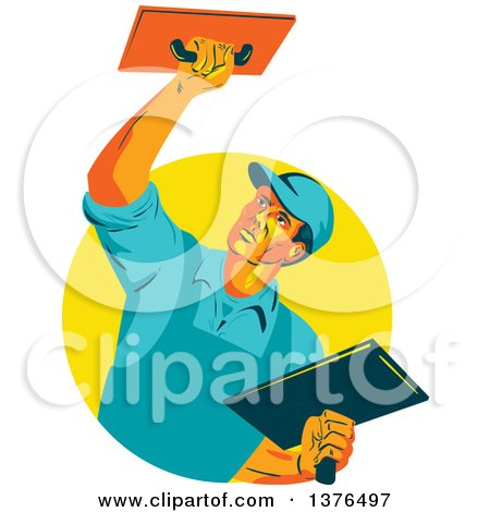 Clipart of a Retro WPA Styled Plasterer Worker Man Emerging from a Yellow Circle - Royalty Free Vector Illustration by patrimonio