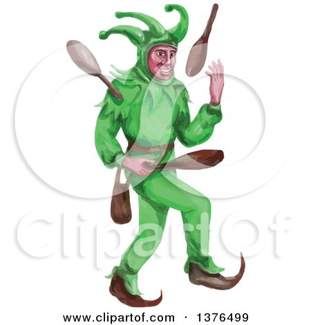 Clipart of a Watercolor Styled Medieval Jester Juggling - Royalty Free Vector Illustration by patrimonio