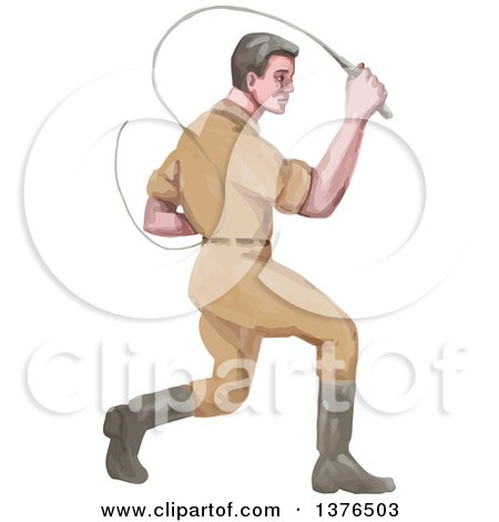 Clipart of a Watercolor Styled Male Lion Tamer Cracking a Bullwhip - Royalty Free Vector Illustration by patrimonio