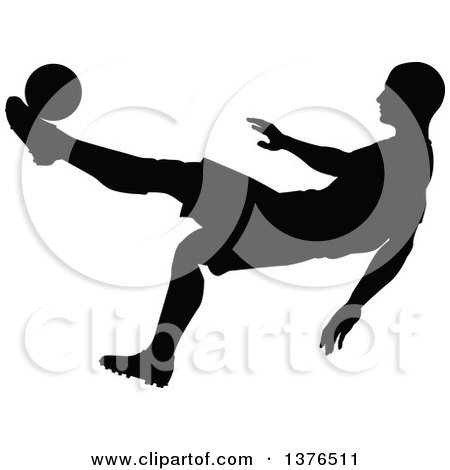 Clipart of a Black Silhouetted Male Soccer Player Athlete in Action - Royalty Free Vector Illustration by AtStockIllustration