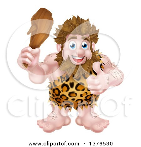 Clipart of a Cartoon Muscular Happy Caveman Holding a Club and Giving a Thumb up - Royalty Free Vector Illustration by AtStockIllustration