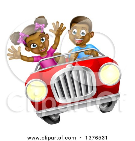 Clipart of a Happy Black Boy Driving a Girl in a Red Convertible Car - Royalty Free Vector Illustration by AtStockIllustration