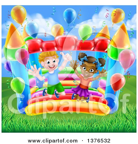 Clipart of a Cartoon Happy White Boy and Black Girl Jumping on a Bouncy House Castle with Party Balloons in a Park - Royalty Free Vector Illustration by AtStockIllustration