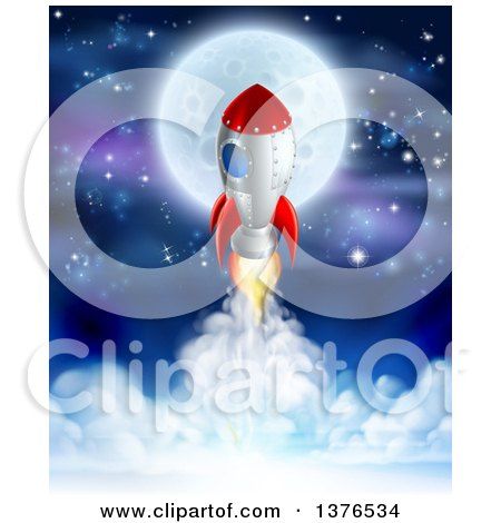 Clipart Of A Rocket Ship Taking Off Over A Full Moon Clouds And Starry Sky Royalty Free Vector Illustration