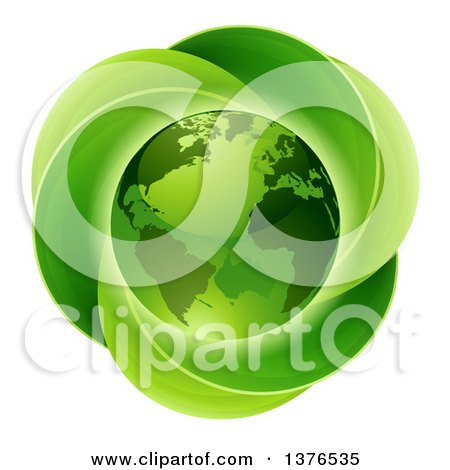 Clipart Of A 3d Shiny Earth Globe Over A Circle Of Leaves Royalty Free Vector Illustration