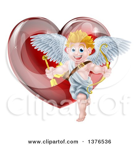 Clipart of a Happy Blond Caucasian Valentines Day Cupid Holding a Bow and Arrow in Front of a Shiny Red Heart - Royalty Free Vector Illustration by AtStockIllustration