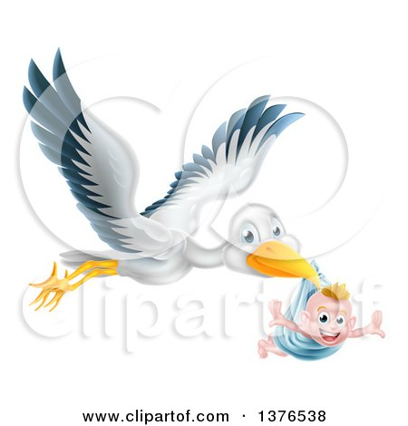Clipart of a Flying Stork Bird Holding a Happy Baby Boy in a Blue Bundle with His Arms out like Wings - Royalty Free Vector Illustration by AtStockIllustration