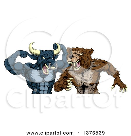Clipart of a Tough Aggressive Blue Bull Ready to Fight a Brown Bear - Royalty Free Vector Illustration by AtStockIllustration