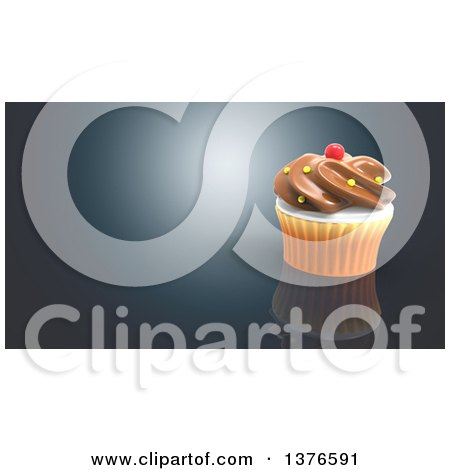 Clipart of a 3d Cupcake on a Blue Background - Royalty Free Illustration by Julos