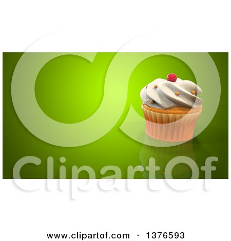Clipart of a 3d Cupcake on a Green Background - Royalty Free Illustration by Julos