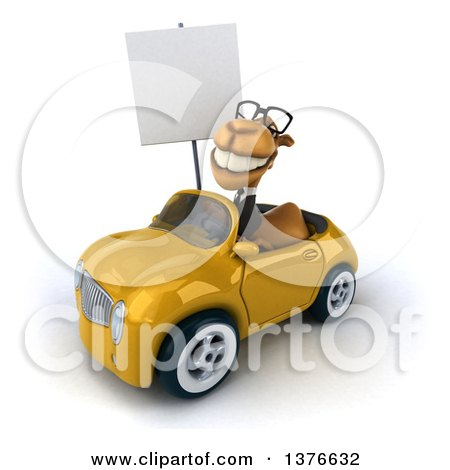 Clipart of a 3d Bespectacled Business Camel Holding a Blank Sign and Driving a Yellow Convertible Car, on a White Background - Royalty Free Illustration by Julos