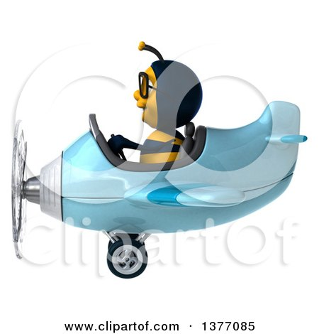 Clipart of a 3d Male Bee Flying an Airplane, on a White Background - Royalty Free Illustration by Julos