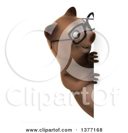 Clipart of a 3d Bespectacled Brown Bear, on a White Background - Royalty Free Illustration by Julos