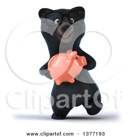 Clipart of a 3d Bespectacled Black Bear Walking and Holding a Piggy Bank, on a White Background - Royalty Free Illustration by Julos