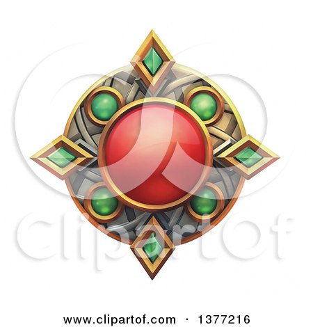 Clipart of a Ruby and Emerald Emblem, on a White Background - Royalty Free Illustration by Tonis Pan