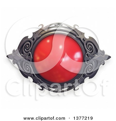 Clipart of a Ruby and Metal Emblem, on a White Background - Royalty Free Illustration by Tonis Pan