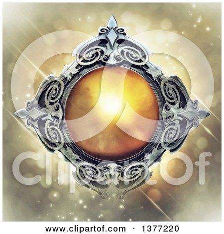 Clipart of a Metal and Amber Emblem, on a Magical Background - Royalty Free Illustration by Tonis Pan