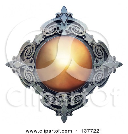 Clipart of a Metal and Amber Emblem, on a White Background - Royalty Free Illustration by Tonis Pan