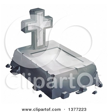 Clipart of a Concrete Grave and Cross Headstone, on a White Background - Royalty Free Illustration by Tonis Pan
