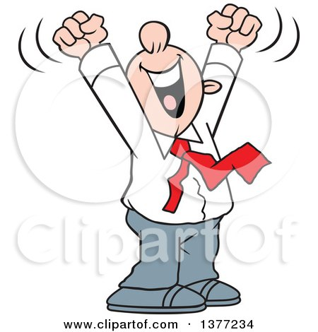 Clipart of a Cartoon Happy White Business Man Cheering with His Arms Above His Head - Royalty Free Vector Illustration by Johnny Sajem