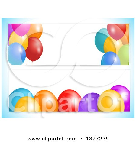 Clipart of White Party Banners with 3d Colorful Balloons and Text Space, on a Gradient Blue Background - Royalty Free Vector Illustration by elaineitalia