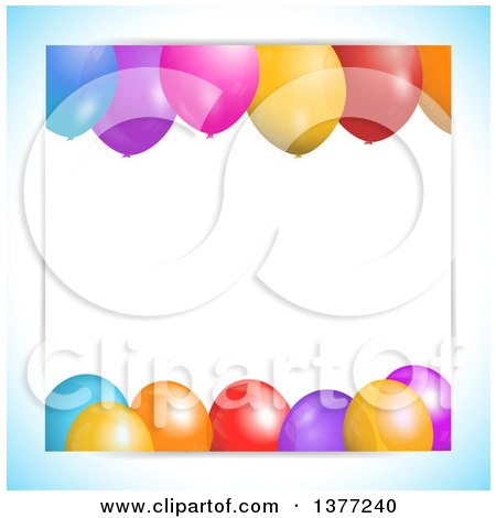 Clipart of a Background of 3d Colorful Party Balloons and Text Space, with a Gradient Blue Border - Royalty Free Vector Illustration by elaineitalia