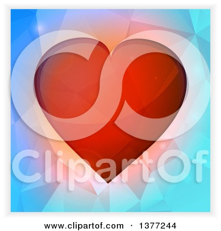 Clipart of a 3d Red Valentine Love Heart over Geometric Blue, with a Shaded Border - Royalty Free Vector Illustration by elaineitalia