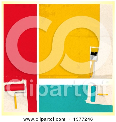 Clipart of Roller and Standard Paint Brushes with Red, Yellow and Turquoise Paint, over a Gradient Yellow Background - Royalty Free Vector Illustration by elaineitalia