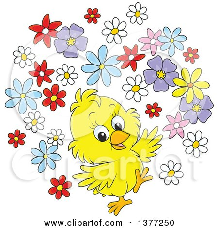 Happy Yellow Spring Chick with Flowers Posters, Art Prints