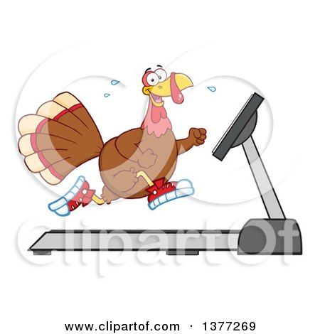 Clipart of a Thanksgiving Turkey Bird Running in Sneakers on a Treadmill - Royalty Free Vector Illustration by Hit Toon