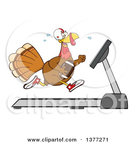 Clipart of a Cartoon Thanksgiving Turkey Bird Super Bowl Football Player Running on a Treadmill - Royalty Free Vector Illustration by Hit Toon