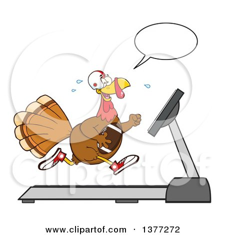 Clipart of a Cartoon Thanksgiving Turkey Bird Super Bowl Football Player Talking and Running on a Treadmill - Royalty Free Vector Illustration by Hit Toon