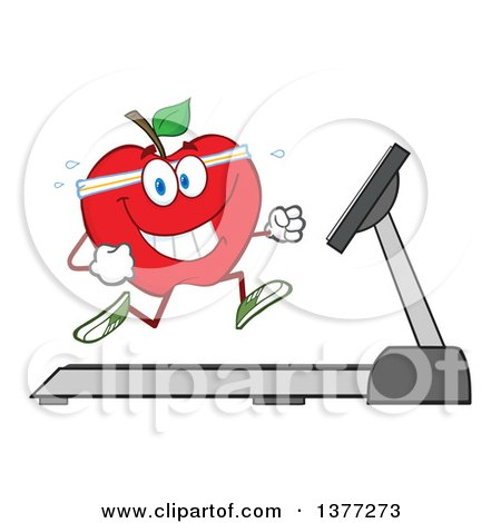 Clipart of a Healthy Fit Red Apple Running on a Treadmill - Royalty Free Vector Illustration by Hit Toon