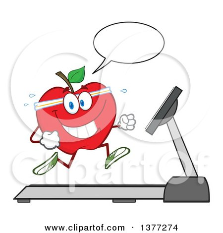 Clipart of a Healthy Fit Red Apple Talking and Running on a Treadmill - Royalty Free Vector Illustration by Hit Toon