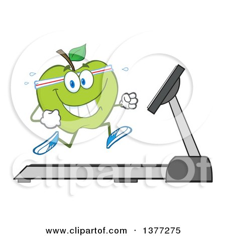 Clipart of a Healthy Fit Green Apple Running on a Treadmill - Royalty Free Vector Illustration by Hit Toon