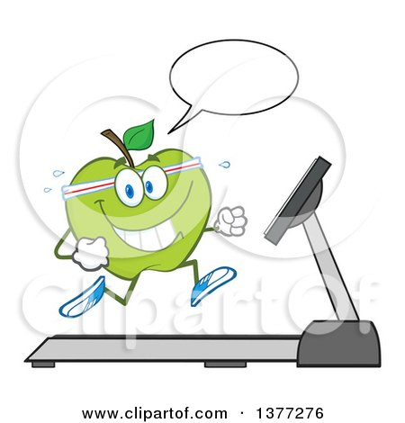 Clipart of a Healthy Fit Green Apple Running and Talking on a Treadmill - Royalty Free Vector Illustration by Hit Toon