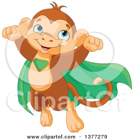 Clipart of a Cute Super Hero Monkey Flying in a Green Cape - Royalty Free Vector Illustration by Pushkin