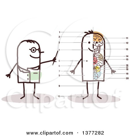 Clipart of a Male Stick Doctor Discussing the Anatomy of a Mans Body - Royalty Free Vector Illustration by NL shop