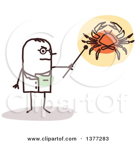 Clipart of a Male Stick Doctor Discussing Cancer - Royalty Free Vector Illustration by NL shop