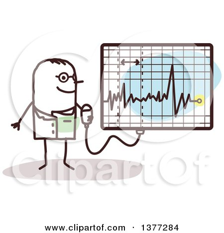 Clipart of a Male Stick Doctor Discussing an Electrocardiogram - Royalty Free Vector Illustration by NL shop